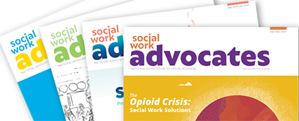 covers of four Social Work Advocates magazines