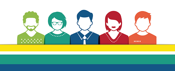 colorful graphic of five people in a row